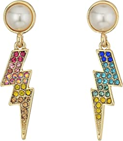 Betsey Johnson - Pave and Pearl Lighting Bolt Earrings