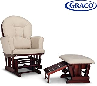 Graco Parker Semi-Upholstered Glider and Nursing Ottoman, Cherry/Beige Cleanable Upholstered Comfort Rocking Nursery Chair with Ottoman