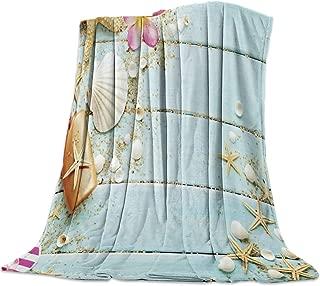 SODIKA Flannel Fleece Light Weight Luxurious Super Soft Cozy Fuzzy Throw Blanket for Couch Chair All Seasons,Beach Theme Seashells 50