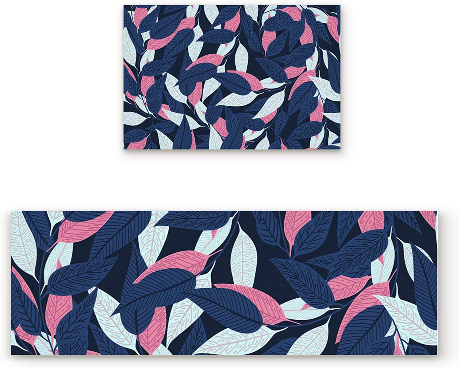 Shine-Home 2 Piece Non-Slip Kitchen Mat Doormat Runner Rug Set,Kids Area Rug Carpet Bedroom Rug Hawaiian Tropical Leaves and Summer Autumn Time Forest Geometrical Nature Image,19.7x31.5IN+19.7x63IN