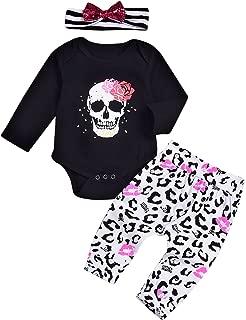 Toddler Girl Clothes Long Sleeve Skull Black Rompers + Pants Leggings + Headband 3pcs Outfits Set