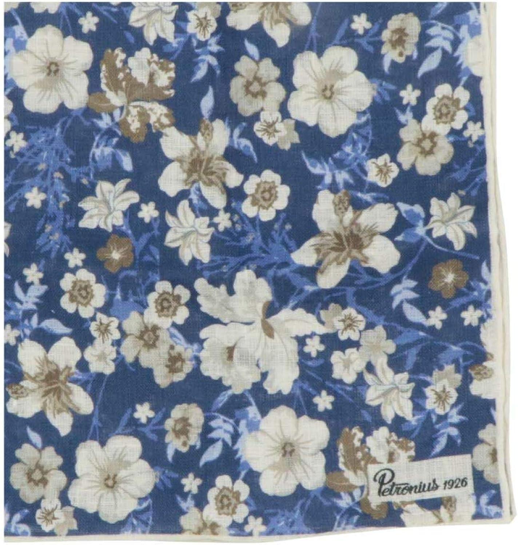 Petronius 1926 Men's Floral Print Linen Pocket Square