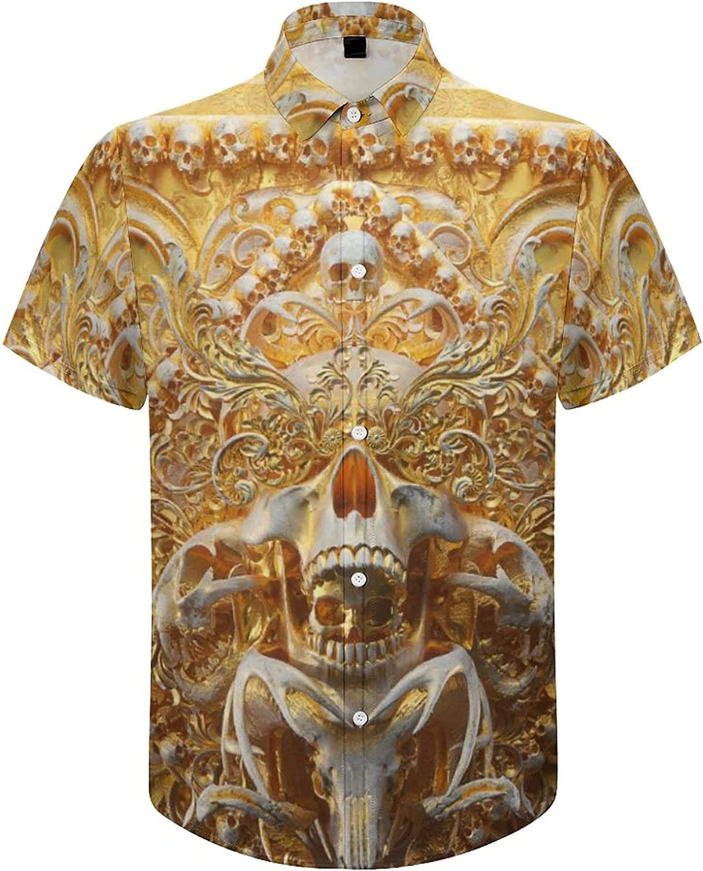 Gold Skull Print Shirt Mens Beach Shirts Hawaiian Short Sleeve Shirt Floral Summer Casual Button Down Shirts for Men