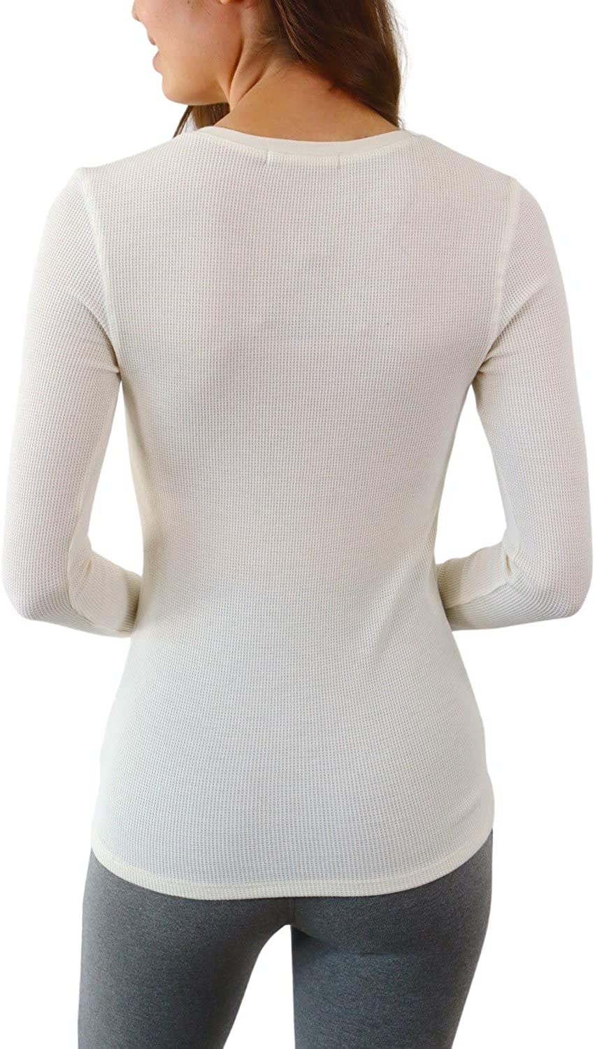 Pure Look Womens Long Sleeve Waffle Knit Stretch Cotton Thermal Underwear Shirt