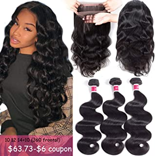 Funky girl Hair 8A Grade 360 Lace Frontal Closure With Bundles Brazilian Body Wave Hair Bundles With Frontal 360 Lace Unprocessed Human Hair Bundles With Frontal (10 12 14 With 10)