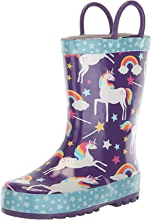 Girls' Waterproof Printed Rain Boot with Easy Pull on Handles