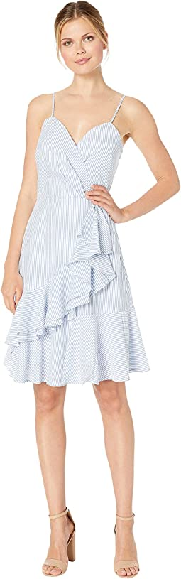 Ellen Tracy Sleeveless Seersucker Fit And Flare Dress