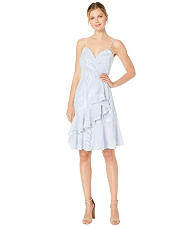 American Rose Vienna Spaghetti Strap Ruffle Dress (Blue) Women