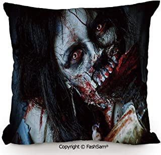 Polyester Throw Pillow Cushion Scary Dead Woman with Bloody Axe Evil Fantasy Gothic Mystery Halloween Picture for Sofa Bedroom Car Decorate(14