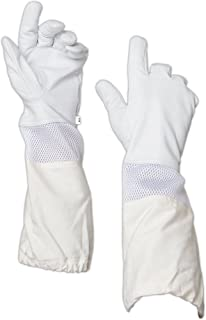 Forest Beekeeping Gloves, Premium Goatskin Leather Beekeeper's Glove with White Vented Space Between Long Canvas Sleeve and Elastic Cuff (XL)