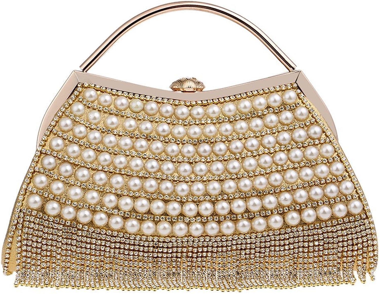 0202f402ea5d2 AGOPO Schultertasche Frauen Quaste Quaste Quaste Perle Clutch Bag Wristlet  Bunte Diamant Abendtasche Hochzeit Geldb ouml rse Handtasche (Farbe Gold