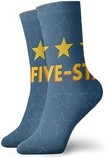Blue Five-Star Life Calcetines cortos transpirables Calcetines clásicos de algodón de 30 cm para hombres Mujeres Yoga Senderismo Ciclismo