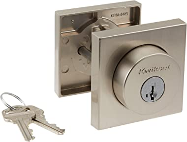 Kwikset 91580-001 Halifax Slim Square Single Cylinder Deadbolt featuring SmartKey in Satin Nickel