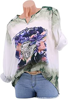 GAOXINGQU Women's Casual Long Sleeve Pattern Printed Thin Blouse (Color : Green, Size : 5XL)