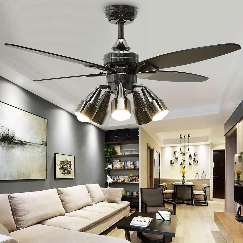 Huston Fan Modern Black Creative 48'' Fandelier Ceiling Fans with 5 redatable Light Set,Indoor Quiet Remote Fan Chandelier Ceiling Lamp,4 Reversible Blade,Two Down Rod