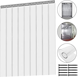 Plastic Strip Door Curtain Kit - 9 Pcs 78 Inch Height X 6 Inch Width Strip Door Curtain 2MM Thickness Clear Curtain Strips for Freezer Doors, Warehouse Doors (9 Pcs 78 Inch Height)