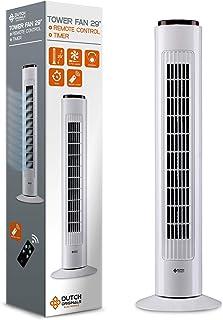 DUTCH ORIGINALS Ventilateur colonne 74 cm 50 W Vitesse d'air 4 m/s avec télécommande Ventilateur tour 3 vitesses Climatise...