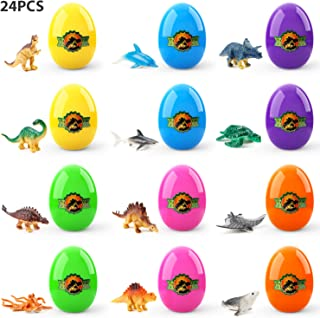 24 Pcs Easter Eggs Filled with Popular Dinosaurs, Theefun Surprise Easter Eggs Prefilled with Marine Animals for Easter Hunt Easter Gifts
