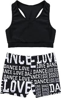 CHICTRY Kids Girls Racer Back Top and Shorts Love Dance Sets for Gymnastics Leotard Dancing