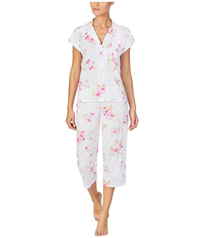 LAUREN Ralph Lauren Classic Knits Short Sleeve Dolman Notch Collar Capri Pants Pajama (Pink Floral) Women