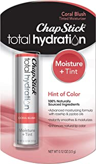 ChapStick Total Hydration (Coral Blush Tint, 1 Blister Pack of 1 Stick) Tinted Moisturizer, 100% Natural Lip Color and Lip Treatment, 0.12 Ounce
