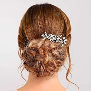 Handcess - Pettini per capelli da sposa, con cristalli argentati, accessori per capelli da sposa, con strass