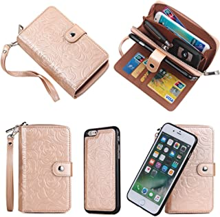 CASESOPHY Rose Gold Flower Magnetic Removable Wallet for Apple iPhone 6 iPhone 6s Regular Size 4.7