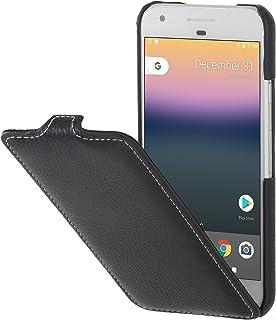 StilGut UltraSlim Case Funda de Piel auténtica, Flip Case con función Smart Cover para su Google Pixel. Cover Extremadamente Delgada con Abertura Vertical de Cuero Genuino, Negro
