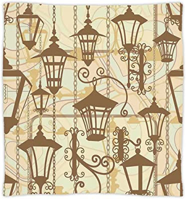 New Fashion Custom Soft Fleece Throw Blanket Beige Decor Collection Graphic Of Old Town Wrought Lanterns Nostalgic Style Urban Life Boho Batteries Replacement Batteries
