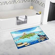 INTERESTPRINT Neverland Adventure Game Cove Pirate Treasure Island Map Bedroom Living Room Bath Mat Non Slip 32 L X 20 W Inches