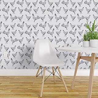 Spoonflower Peel and Stick Removable Wallpaper, Chicken Rooster Farm Barnyard White Bird Animal Hen Print, Self-Adhesive Wallpaper 24in x 36in Roll
