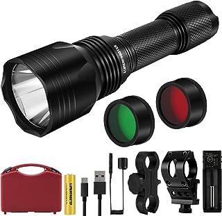 LUMENSHOOTER U9Plus 1000 Lumens Scope Hunting Light, Green Red Filter White Night Predator Flashlight, Picatinny Rail Moun...