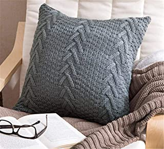 Awishwill Cotton Knitted Pillow Case Decorative Cushion Cover Cable Knitting Patterns Square Warm Throw Pillow Covers (Grey, 18