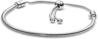 PANDORA Jewelry Moments Slider Snake Chain Charm Cubic Zirconia Bracelet in Sterling Silver, 11.0""