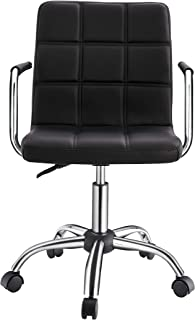 Modern Office Chair with Arms, Black Swivel Desk Chair, Midback Office Chair, Black Modern Home Office Chair, Task Chair