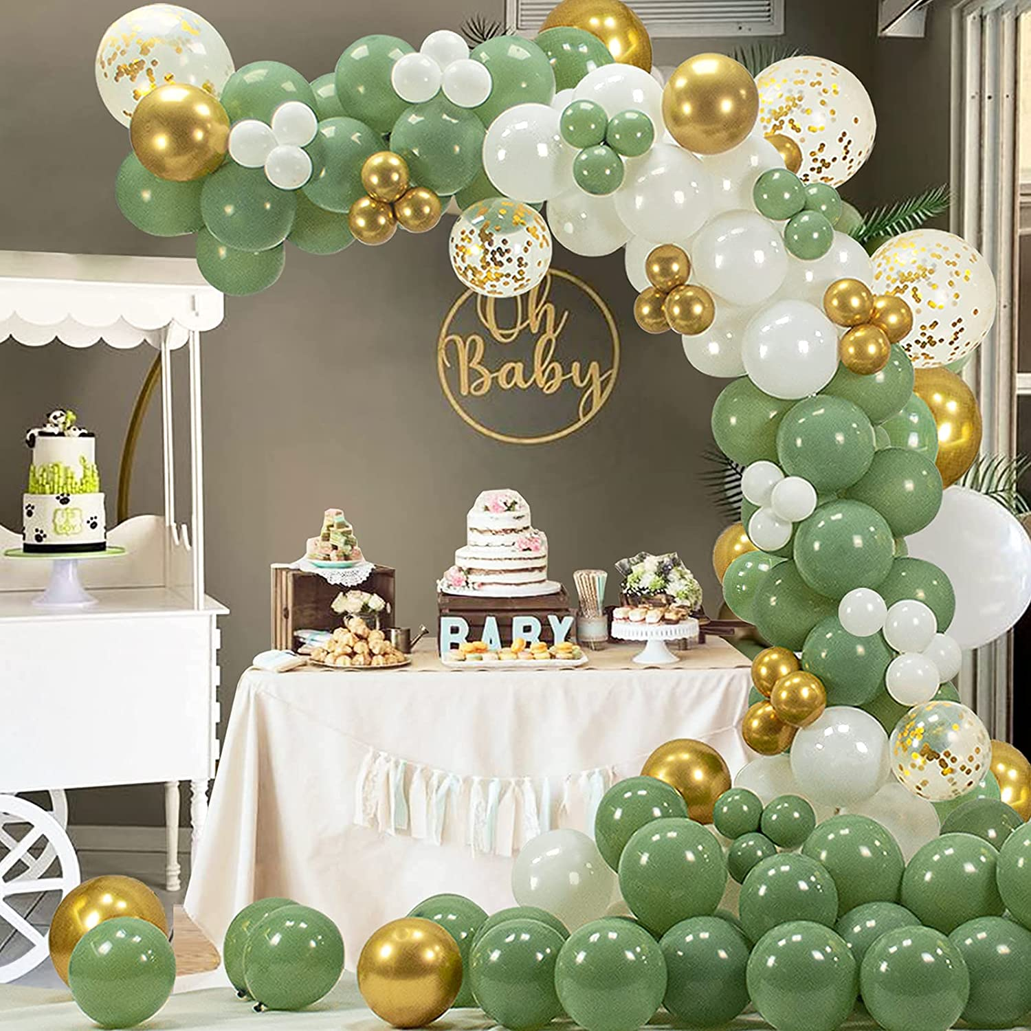 Green Balloon Garland Arch Kit, 137PCS Olive Green Gold Metallic Confetti White Balloons for Bridal Wedding Baby Shower Birthday Bachelorette Party Decorations