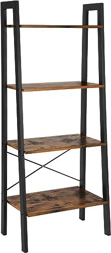 VASAGLE Industrial Ladder Shelf, 4-Tier Bookshelf, Storage Rack Shelves, Bathroom, Living Room, Wood Look Accent Furn...
