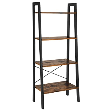 VASAGLE Industrial Ladder Shelf, 4-Tier Bookshelf, Storage Rack Shelves, Bathroom, Living Room, Wood Look Accent Furniture, Metal Frame, Rustic Brown ULLS44X