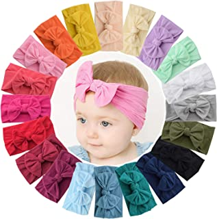 WillingTee 20 Colors Baby Girl Headbands and 4.5 Inch Bows Soft Elastic Nylon Hairbands Hair Bow Hair Accessories for Newb...