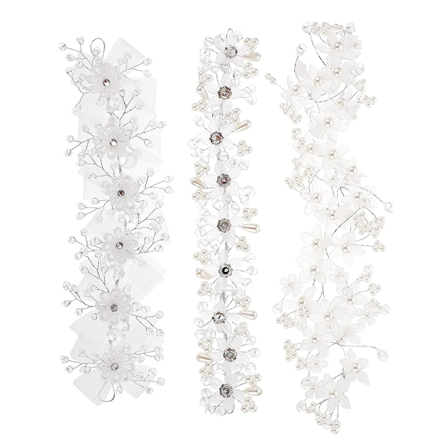 FRCOLOR 3Pcs Wedding Hair Clips Set, Pearl Rhinestones Bride Headpiece Flower Shape With Lace Bownot Decor Head Bands for Little Girls