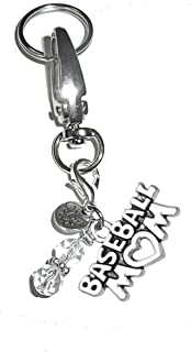 Charm Key Chain Ring, Women's Purse or Necklace Charm, Comes in a Gift Box! (Baseball Mom)