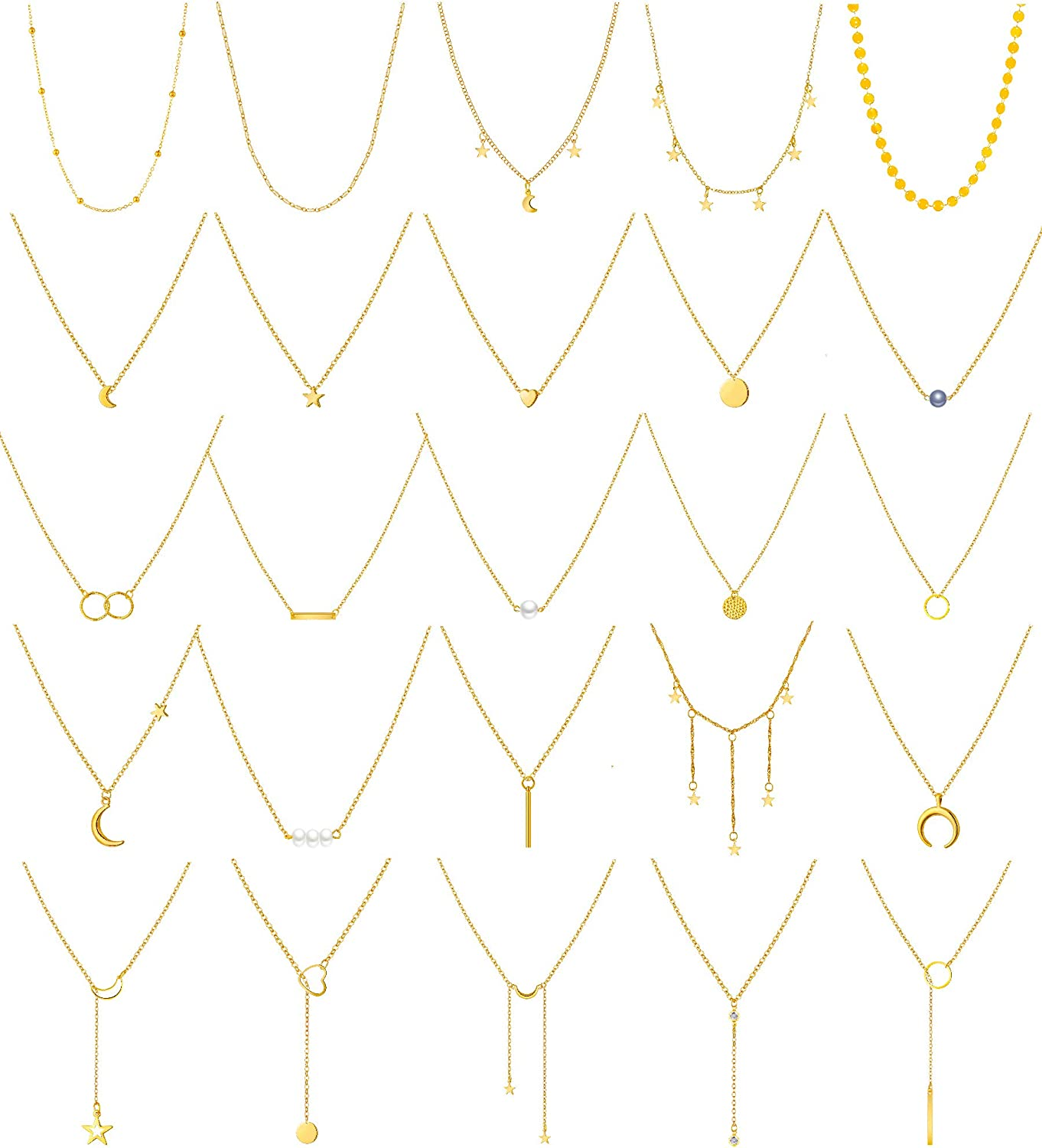 Honsny 25 Pieces Layered Choker Necklaces for Women Girls Gold Multilayer Necklace Set Adjustable Dainty Moon Star Coin Bar Pearl Pendant Y Necklaces Jewelry for Teens Girls Women