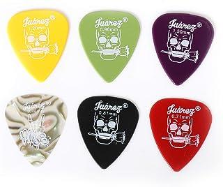JUAREZ JAP60 Guitar Plectrums Pick Set of Various Thickness, 6 Pieces (Celluloid + ABS), Colours Random