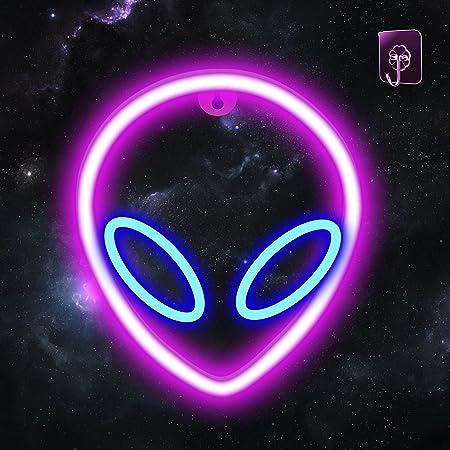 AYYDS Neon Sign Alien Rosa & Blau Neonlicht LED Alien Leuchtreklamen, USB/Batterie Neonlichter für Schlafzimmer, Kinderzimmer, Bar, Weihnachten, Geburtstagsfeier, Gaming Deko(Pink + Blau)