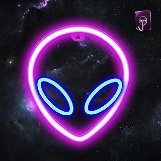 AYYDS Neon Sign Alien Rosa & Blau Neonlicht LED Alien Leuchtreklamen, USB/Batterie Neonlichter für Schlafzimmer, Kinderzim...