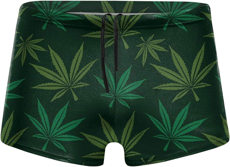 Marijuana Leaf Pattern Men's Swimming Trunks Fitness Swimwear Boxer Pants Board Shorts