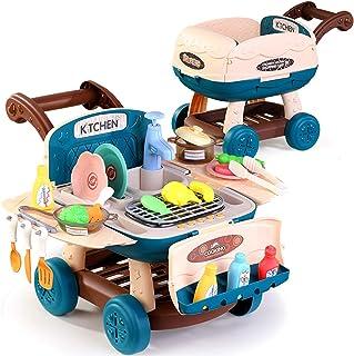 子供のバーベキューピクニックカートおもちゃ女の子キッチンスーパーマーケットシミュレーションハンドプッシュショッピングカート赤ちゃんプレイハウス多機能おもちゃ