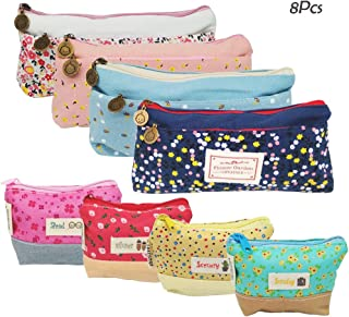 8Pcs Flower Floral Canvas Student Pen Pencil Zipper Pouch Stationery Bag Case, Creatiee Small Cosmetic Makeup Bags, Multifunctional Coin Purse Wallet Change Cash Holder - Adorable & Durable