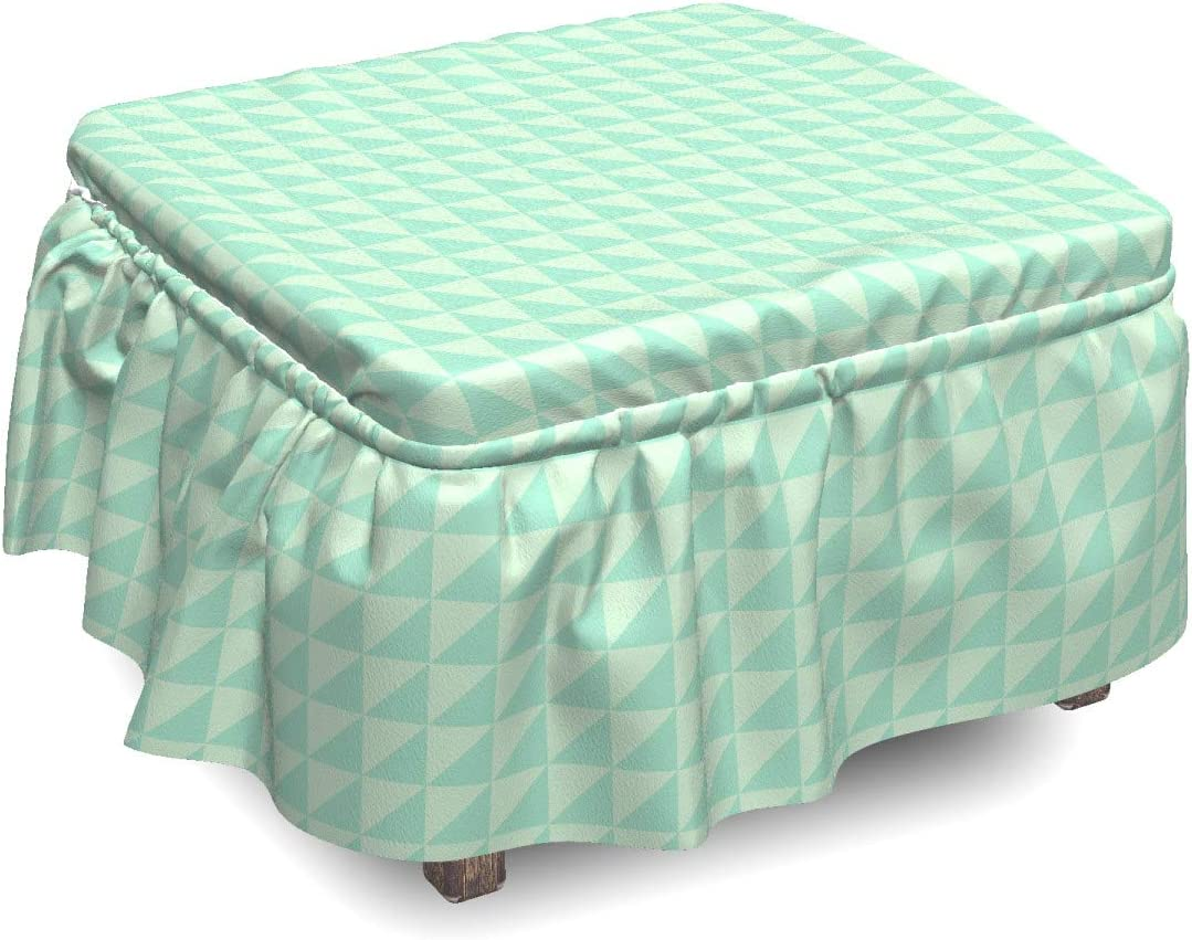 Ambesonne Mint Some reservation Ottoman Cover Half Translated Sl Squares 2 Piece Triangles