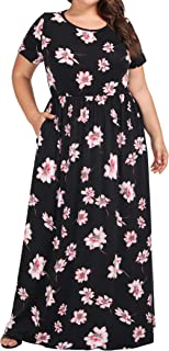 Plus Size Women's Floral Print Summer Casual Long Maxi Dress with Pocket